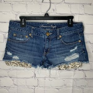 American Eagle distressed sequin shorts sz 10